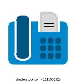 vector fax machine illustration - phone symbol isolated