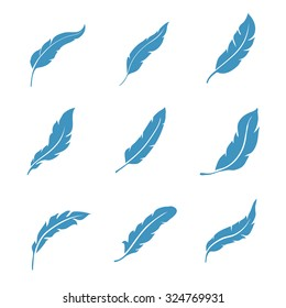 Vector Feather icons set isolated on white background