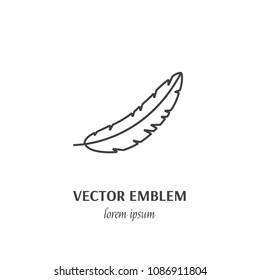 Vector Feather outline sign, icon line style pictogram isolated on white background.