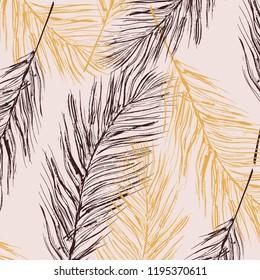 Vector feather pastel decoration. Birds fur elements. Elegant luxury home texture, interior decoration, Parrot symbol art