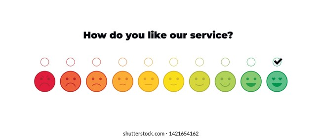 Vector feedback survey template. Ten scale of colorful emotion smiles from rage to satisfied with checkbox on white background. Emoticons element of UI design for client service rating.