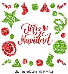 Vector Feliz Navidad, translated Merry Christmas lettering with festive New Year's elements. Happy Holidays typography for greeting card template or poster concept.