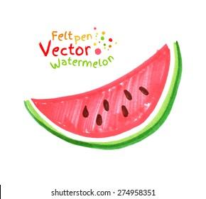 Vector felt pen child drawing of watermelon.
