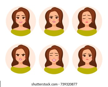 Vector female character in cartoon flat style. Set Avatar girl in a circle. Different emotions,facial expression:happy, joy, laughter, sadness, anger, surprise. Illustration isolated from background.