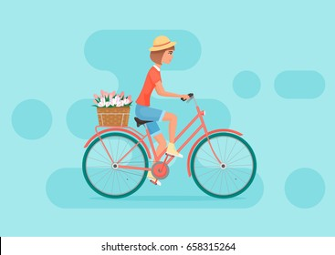 Vector female character design riding bicycle. Young pretty woman on the bicycle with flowers.