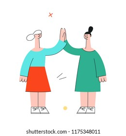 Vector female characters giving high five to colleagues greeting after successful development meeting, collaboration. Office worker, business women, and cooperation and teambuilding.