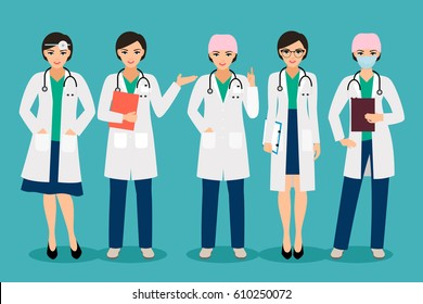 Vector female doctor or smiling woman pharmacist poses isolated on background