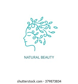 Vector Female Face Logo in Linear Style. Woman Profile  with Floral Hair Icon. Natural Beauty Concept.