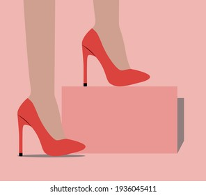 vector of female feet in high-heeled shoes. flat image of shoes on female feet