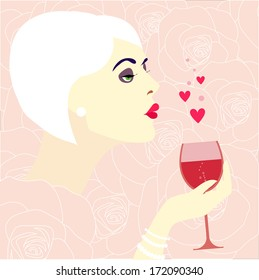 vector female holding wine glass with drink in hand