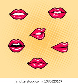 Vector female lips set. Fashion patches elements in pop art, retro style. Mouth with a kiss, smile isolated on background. Vector stickers kit in comics style.