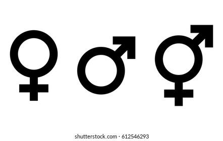 Vector female, male and transgender symbol set