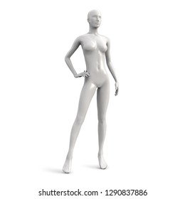 Vector female mannequin of white color. Front side.