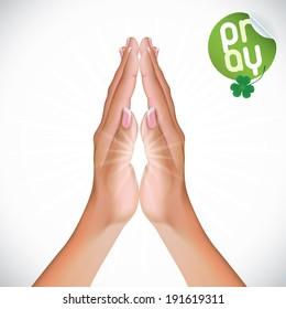 Vector Female Praying Hands Illustration, Icons, Sign, Symbol, Logo, Sticker