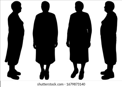 Vector of a female silhouette is in different positions. Grandmother. Set of four silhouettes, profile, full face, half side. Older woman. Pensioner in a skirt and a short haircut. Standing up. Choir.