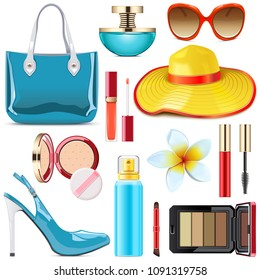 Vector Female Summer Accessories isolated on white background