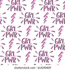 Vector feminism symbol seamless pattern. Feminist movement background