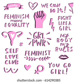 Vector feminism symbols icon set. Feminist movement, protest