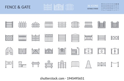 Vector fence and gate icons, road signs. Editable stroke. Wooden metal profile brick wire fences. Open and closed wickets, remote control. Safety signs, repair and construction, stop sign, electricity