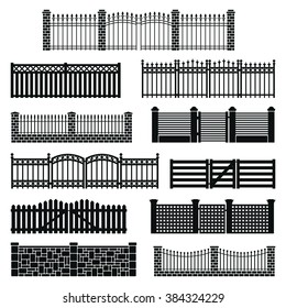Vector fence silhouette set isolated. Wooden and brick fence decorative shape collection. Architecture gate and fence objects