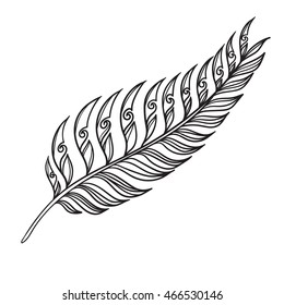 Vector Fern In Tribal Tattoo Style