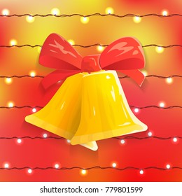 Vector Festive Background with Christmas Bells, Bow and Bright Lights. Vector Illustration.