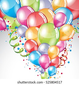 Vector festive Balloons background and colorful confetti