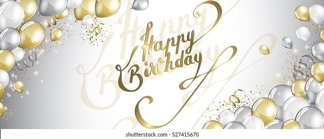 Vector festive Balloons and confetti birthday card