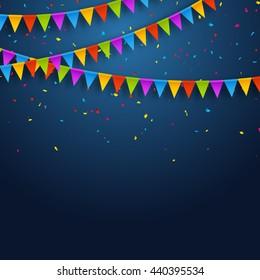 Vector festive card with confetti, party invitation design template. Festive celebration background.