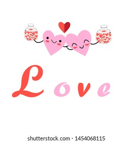 Vector festive cartoon hearts on a white background. Holiday Card for the Day of all lovers.