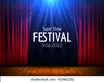 Vector Festive design with lights and wooden scene. Poster for concert, party, theater, dance template. Wooden Stage with Curtains. Poster Template with Lights