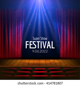 Vector Festive design with lights and wooden scene and seats. Poster for concert, party, theater, dance template. Wooden Stage with Curtains. Poster Template with Lights