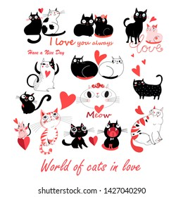 Vector festive funny set of enamored cute cats on a white background. Templates for the design of books, the background for advertising