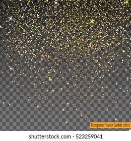 Vector festive illustration of falling shiny particles, Golden Confetti Glitters, stars isolated on transparent background. Holiday Decorative tinsel element for Design.