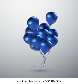 Vector festive illustration of flying realistic glossy balloons. Blue birthday balloon bunch. Decorative 3D element for party invitation design