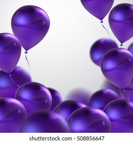 Vector festive illustration of flying realistic glossy balloons. Violet balloon bunch. Decoration element for holiday event invitation design