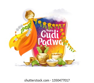 vector festive illustration. Hindu New Year celebration for Marathas and Konkani Gudi Padwa. design graphics for posters, posters, flyers, offers, booklets, cards. another name Ugadi or Yugadi