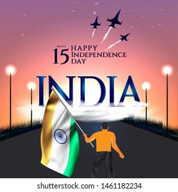 vector festive illustration of independence day in India celebration on August 15. vector design elements of the national day. holiday graphic icons. National day