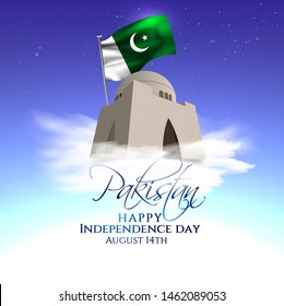 vector festive illustration of independence day in Pakistan celebration on August 14. vector design elements of the national day. holiday graphic icons. National day