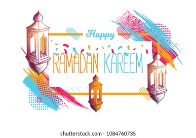 vector festive illustration. Islamic religious festival of the holy fast of Ramadan Kareem. decorative lantern Fanus on a background of colorful paint divorces. Translation from Arabic: Generous Ramad