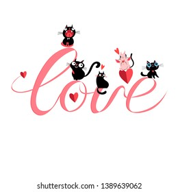 Vector festive love inscription with different cats on white background