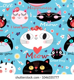 Vector festive pattern with portraits of enamored cats on a floral background. Template for the design of business cards, postcards, poster sites and much more.