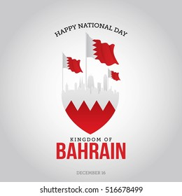 "Vector festive poster & banner with flags of The Bahrain and an inscription ""December 16 Happy National day of the Kingdom of Bahrain"" Isolated on a white wall background."