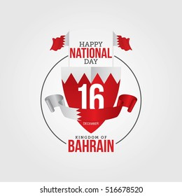 """Vector festive poster & banner with flags of The Bahrain and an inscription """"December 16 Happy National day of the Kingdom of Bahrain"""" Isolated on a white wall background."""