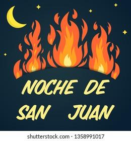 Vector festive poster Night of Saint John with bonfires, text on dark blue sky. Spanish translation Noche de San Juan. Greeting card to celebrate the summer solstice, banner. Popular Event in Spain.