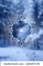 "Vector festive template; Spiritual sacred geometry; ""Flower of life"" and crystal ice snowflake on fairytale winter photographic background; New year and Christmas; Yoga, meditation and relax."