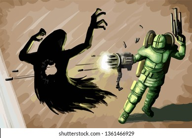 Vector fictional character in technological suit shooting at black ghostly villain