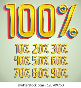 vector field 3d font Percents templates for sale 100%, 90%, 80%, 70%, 60%,  50%, 40%, 30%, 20%, 10%