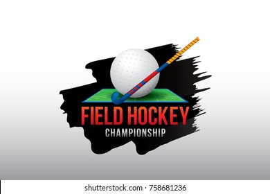 Vector of field hockey championship badge and design elements.
