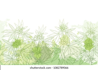Vector field with outline Cannabis sativa or Cannabis indica or Marijuana. Branch, leaves and seed on the pastel green textured background. Medicinal plant in contour style for summer design.